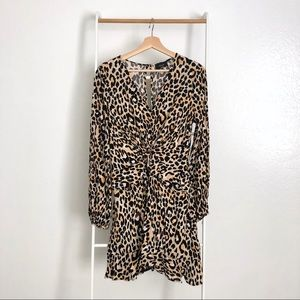 Vici Leopard Print Knotted Front Ruffle Dress